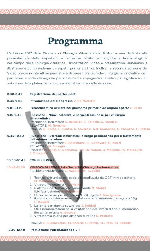 Programma Monza Chirurgia Vitreoretinica